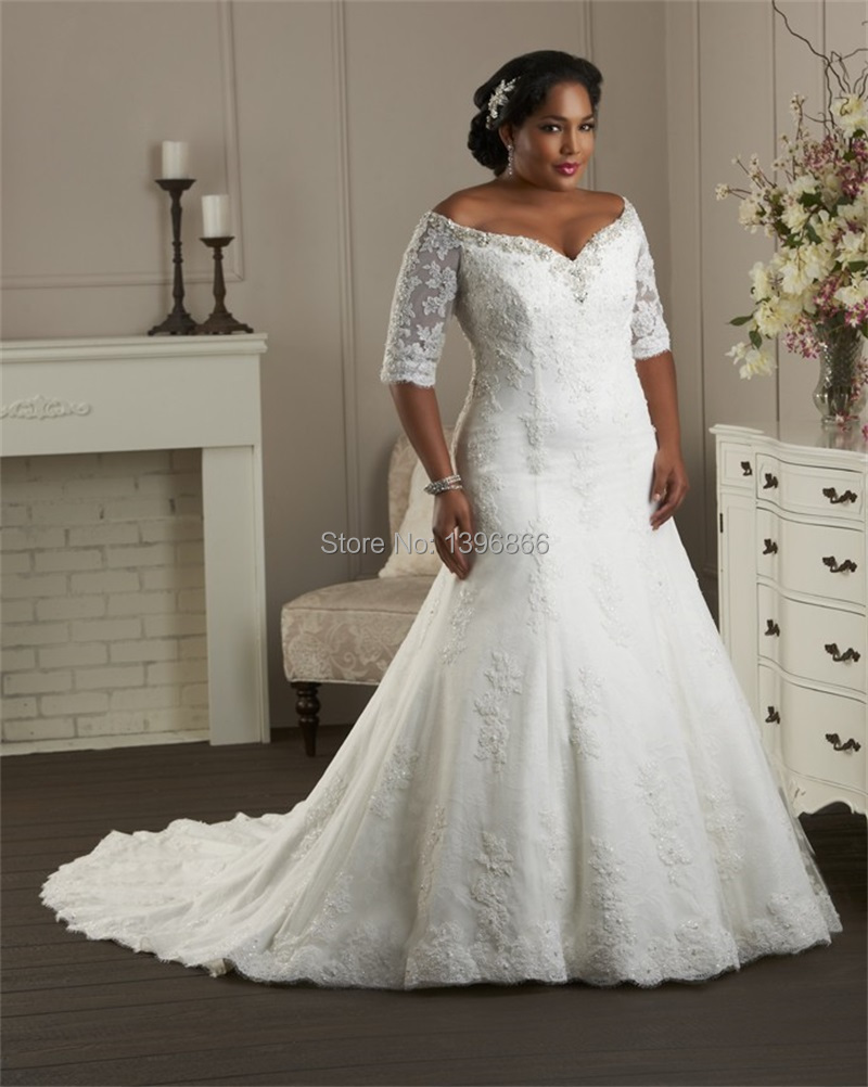 Free shipping vintage lace wedding gowns plus size 2015 for Plus size lace wedding dresses with sleeves