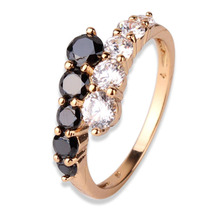 New Fashion 2016 Finger Midi Ring for Women 18K Gold Filled Rings White & Black Engagement Wedding Rings CZ Zircon Jewelry  R110(China (Mainland))