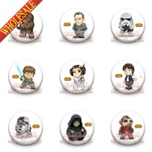 45pcs/Lot Star War PVC Cartoon Figure Pin Badge Buttons Holde brooches,Mixed 18 Styles, Clothes/Bags Accessories School Supplies(China (Mainland))