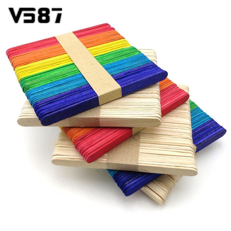 50Pcs Wood Popsicle Ice Cream Stick Spoon Lolly Cake Holder Making Sticks Holder Colorful Kids Hand Crafts Art Tool(China (Mainland))