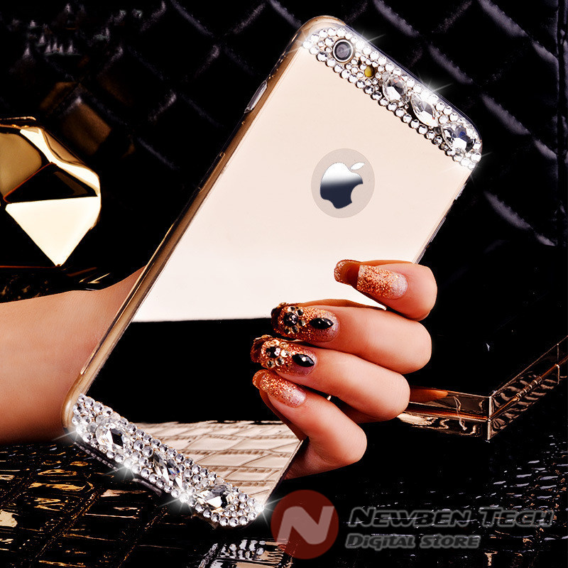 Pure Manual Luxury Crystal Diamond Plating Mirror Silicone Phone Case Cover for Apple iPhone 5 5s 6 4.7inch 6 Plus 5.5inch(China (Mainland))