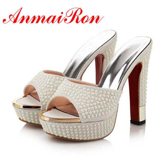 Anmairon новый летний высокие каблуки сандалии ну вечеринку платформа бисером женская ...