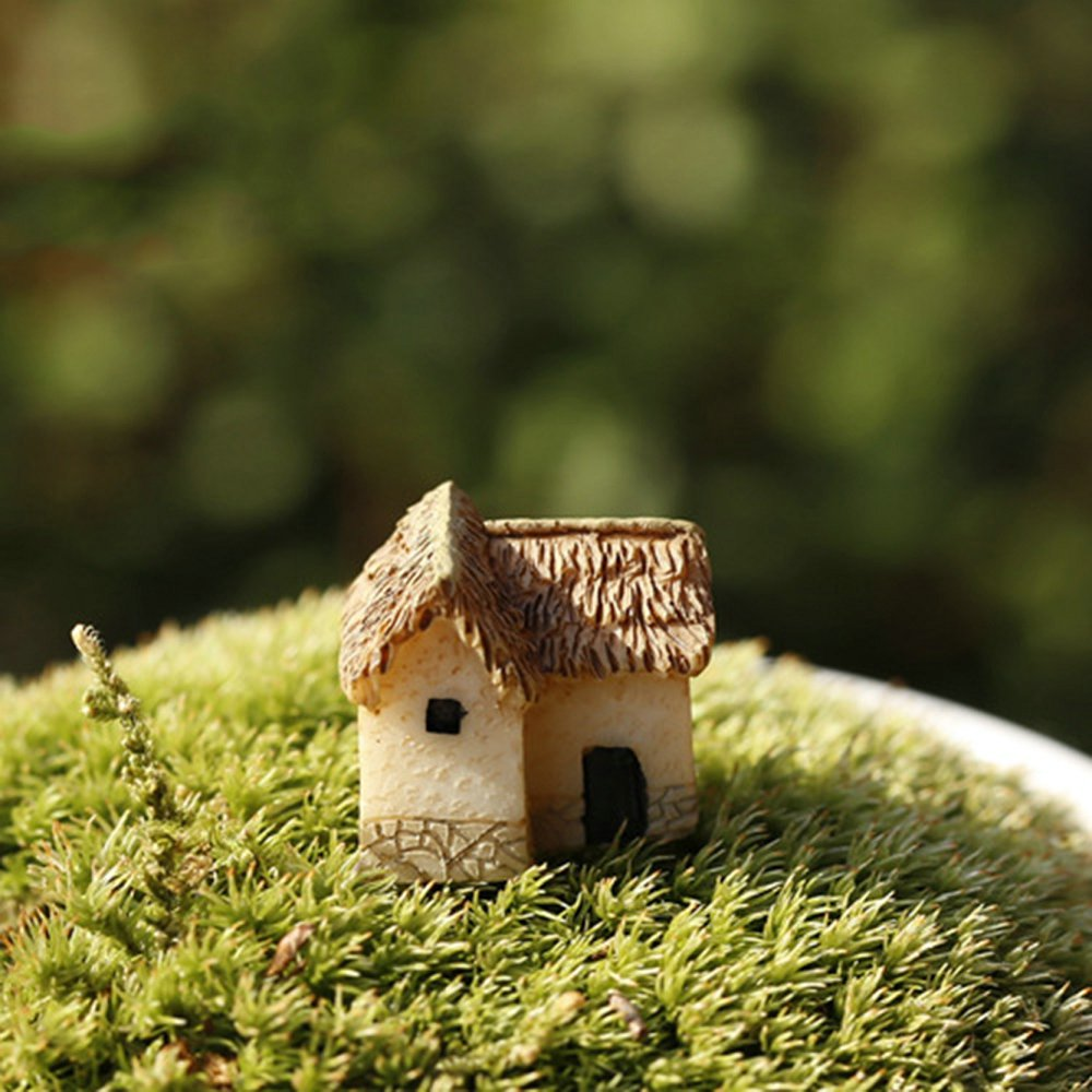 1 pcs Artificial Mini House Miniature Resin Craft Ornament Miniature Home Garden Decoration Accessories Random Color(China (Mainland))