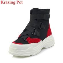 2018 yeni varış büyük boy toka askı platformu yuvarlak ayak kadın yarım çizmeler rahat ofis bayan karışık renk sıcak kış ayakkabı l49(China)