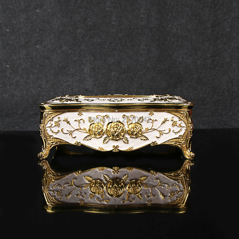 Home Car Metal Tissue Box Case European Gold Plated Rose Napkin Paper Holder Zinc Alloy Removable Tissue Box Napkin Box(China (Mainland))
