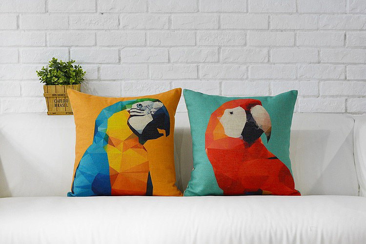 watercolor geometric triangles yellow blue red parrot pattern Cushion Cover home decorative throw pillow Case - Joy's Little Shop store
