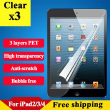 Hd protector de pantalla ultra claro para el Ipad 2 3 4 resistente a los arañazos protector de película de la tableta para el Ipad 2 clear protector para el Ipad 4 3 unids(China (Mainland))