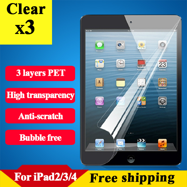 HD ultra clear screen protector for Ipad 2 3 4 anti scratch protective tablet film for ipad 2 clear protector for ipad 4 3PCS(China (Mainland))