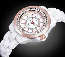 Nueva moda 2015 Ceramic relojes Ladies relojes de cuarzo diamante impermeable reloj de lujo del Rhinestone mujeres del reloj femenino elegante reloj de pulsera