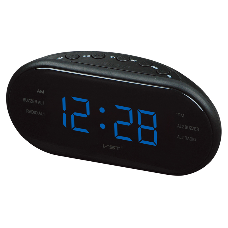 led digital radio alarm clock with blue red green backlight alarm clock am fm clock radio table. Black Bedroom Furniture Sets. Home Design Ideas