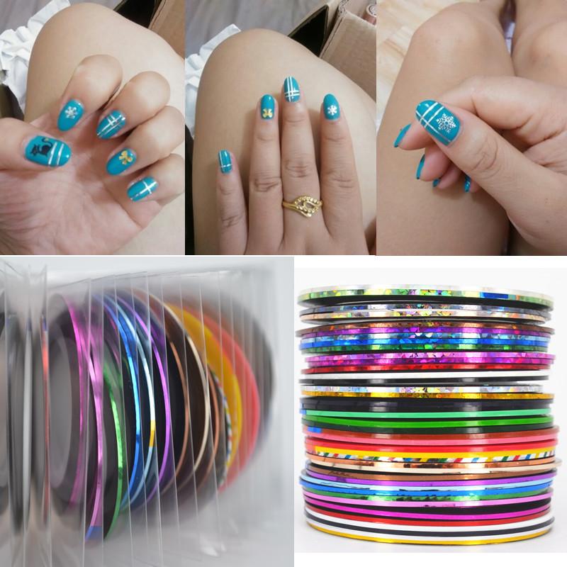 Retail 40 Popular 0.8mm Nail Striping Tape Line For Nails Decorations Diy Nail Art Self-Adhesive Decal Tools(China (Mainland))