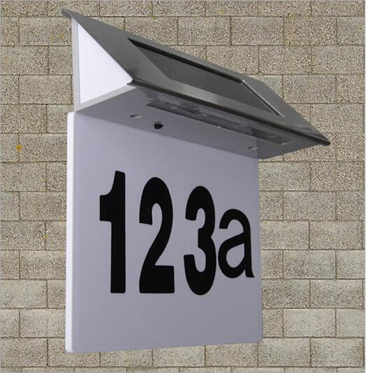 Stainless Steel Solar 4LED House Outdoor Number Illuminated Door Wall Doorplate Plaque Light lamp Free Shipping(China (Mainland))