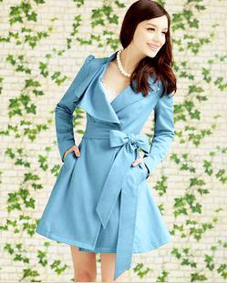 Light Blue Belted Lapel Collared Trench Coat - Order2offer store