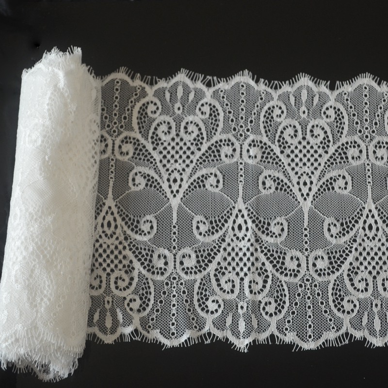 (21cm Wide)1ps 3meter White Lace Trimmings Decoration Crafts Sewing Lace Trim Eyelashes Net Lace Trim Apparel Accessories Fabric(China (Mainland))