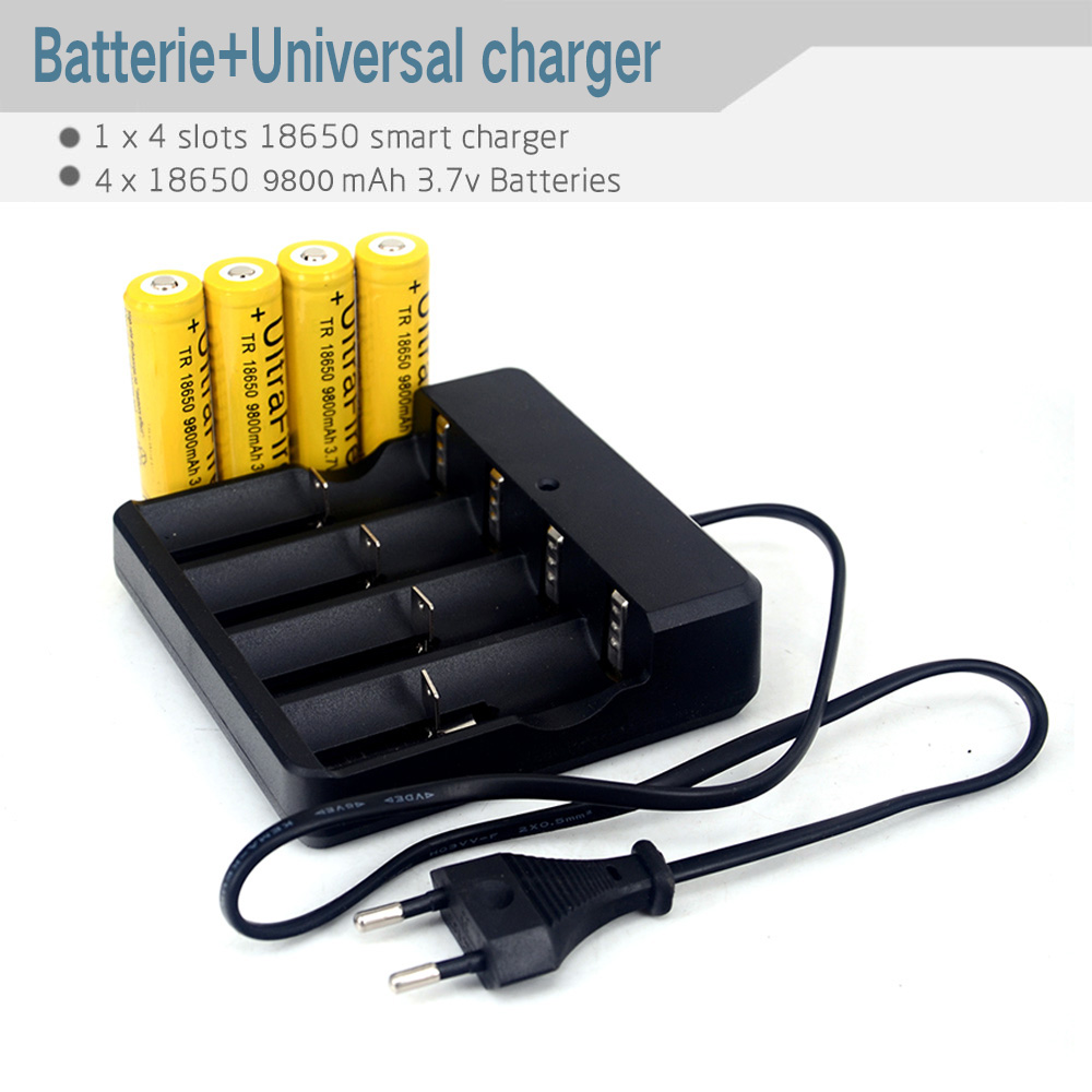 18650/26650/14500/16340Auto Off Battery Charging Charger + 4 pcs/set High Capacity 18650 3.7v Rechargeable Lithium Bateria(China (Mainland))