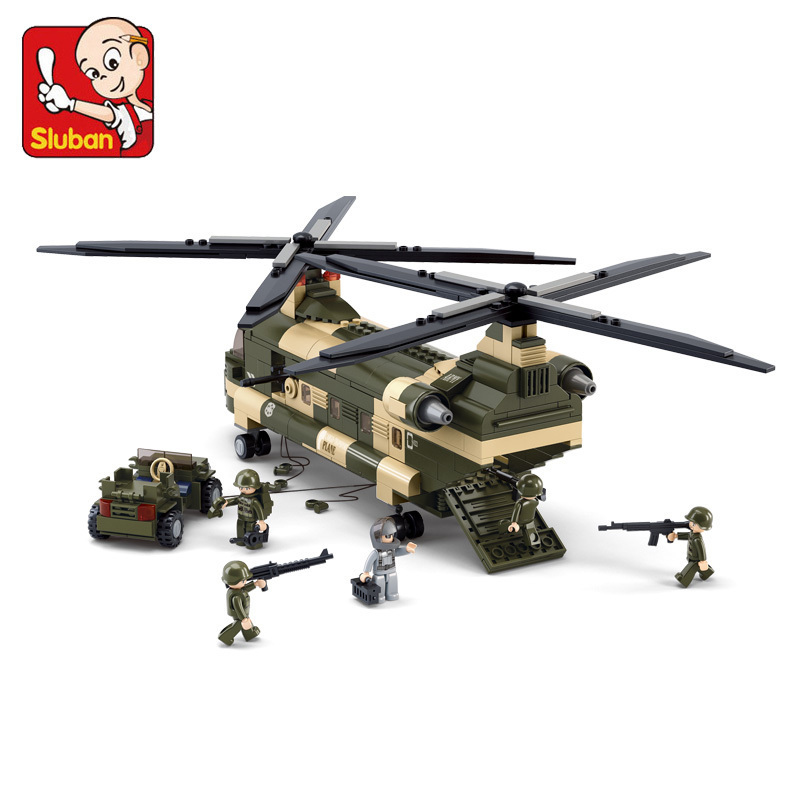 Building block set Compatible Lego SLUBAN Air force Series Military Transport aircraft CH-47 Construction Model Bricks Toys