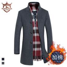 Si Qilong high-end men's wool coat male Korean cultivating in the long section of men's clothing wholesale(China (Mainland))