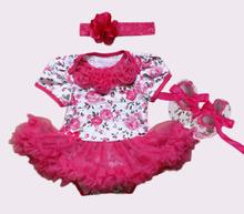 2015 Baby Girl Infant 3pcs Clothing Sets Tutu Romper Dress Jumpersuit Headband Shoes Christmas Bebe Birthday