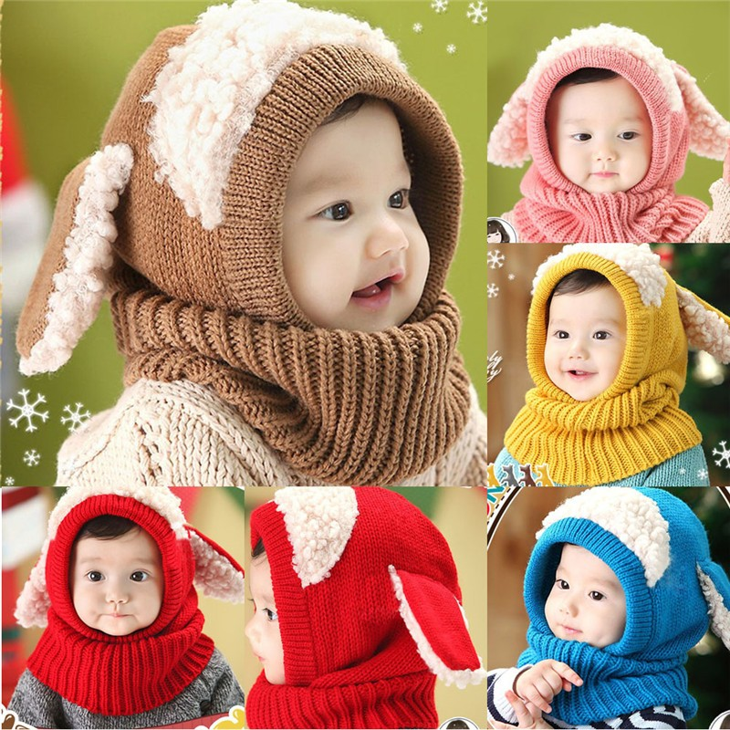 Baby-Hat-With-Scarf-Toddler-Winter-Beanie-Warm-Hat-Hooded-Scarf-Earflap-Knied-Cap-Cute-Cartoon