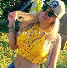 Women Crochet Crop Top Summer Camisole Camis Sexy Hollow Out Lace Crochet Bustier Crop Tops Tees Bra Top Knitted Bikini V5102