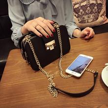 2016 women's fashion handbag shoulder bag messenger bag vintage popular mobile phone small bag chain bag black color(China (Mainland))
