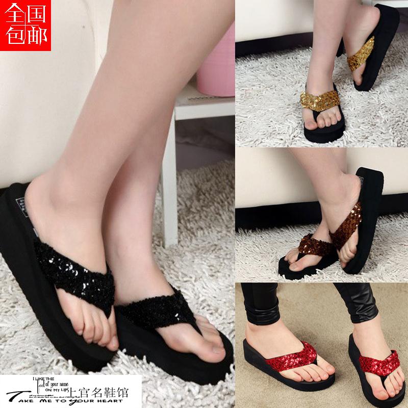 2014 summer fashion flip paillette paltform flip flops platform slippers female slippers sandals wedges female<br><br>Aliexpress