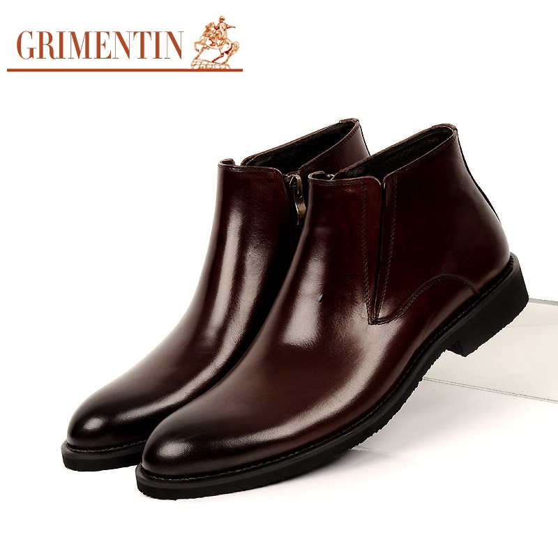 GRIMENTIN Fashion mens ankle boots genuine leather black brown men classic style luxury autumn boot zb108(China (Mainland))