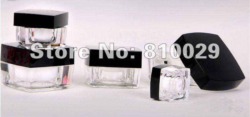 5 50g Black Cap Square Acrylic Jar Cosmetic Container Cream Bottle Packaging - Glitpack International Co.,Ltd store