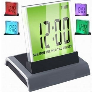Seven kinds of color change new led mini LCD digital thermometer clock calendar(China (Mainland))