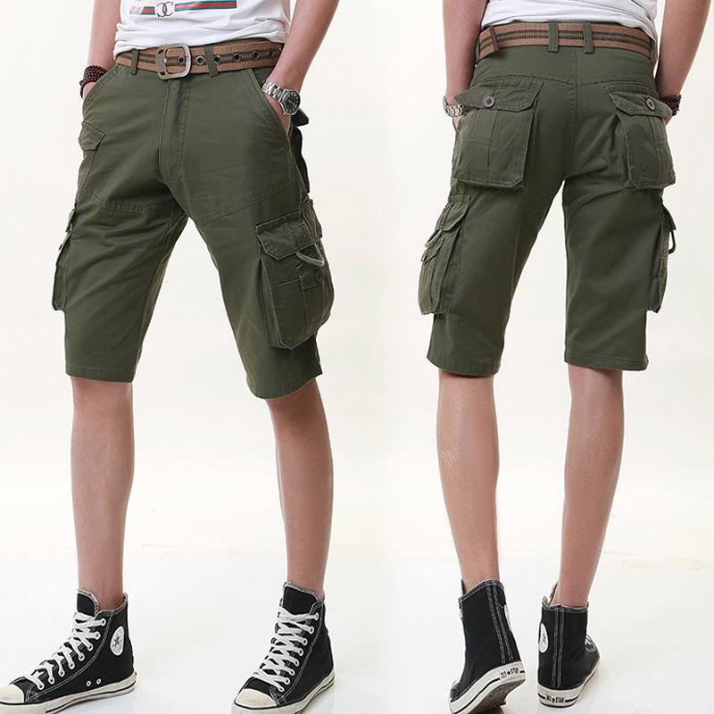 David Beckham Mens Cotton Cargo Pants Leisure Casual Short Trousers Man Shorts Multi Pockets Black Men Summer Loose Short Pants(China (Mainland))