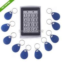 10 unids tarjeta gratis + Metal de proximidad RFID tarjeta de la puerta de entrada de una puerta de Control de acceso impermeable teclado del sistema(China (Mainland))