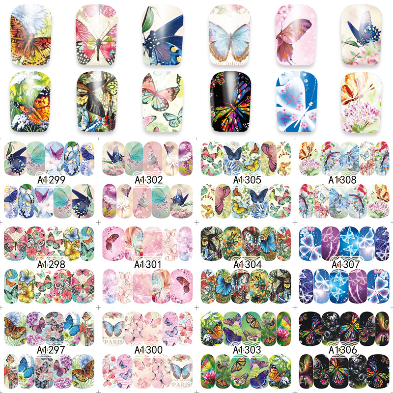 1 Sheet Nail Art Wrap Water Transfer Nails Sticker Butterfly Series Water Decals Stickers Decoration Tools Wraps A1297-1308(China (Mainland))