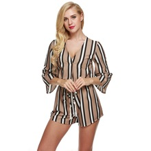 Buy Sexy V-Neck Striped Mono Jumpsuit 2016 Women 3/4 Flare Sleeve Rompers Short Playsuit Summer Overalls Elastic Waist Bodysuit u2 for $9.72 in AliExpress store