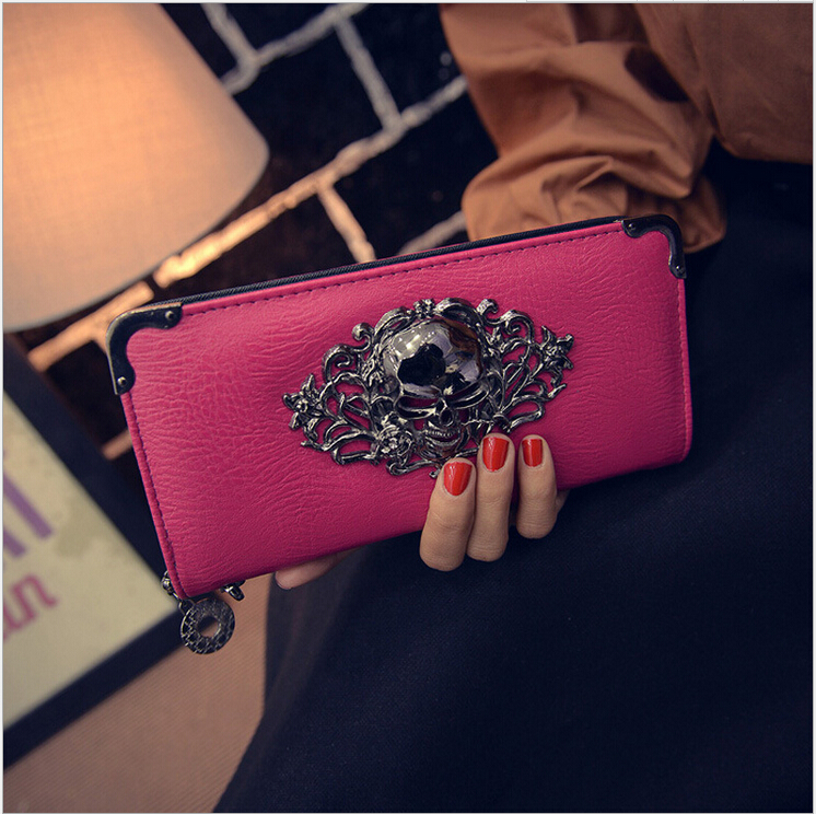 2015 New High Quality Women Long Wallets Brand Designer PU leather Womens Wallets and Purses Skull head Chain Handbag<br><br>Aliexpress