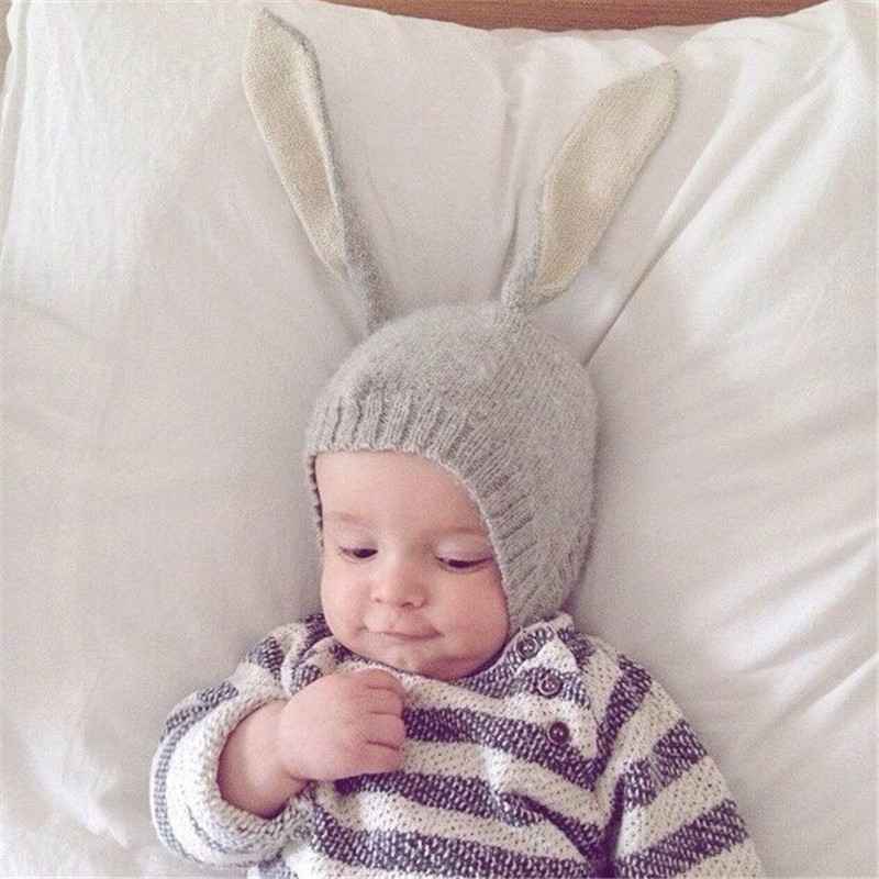 Winter Unisex Kids Baby Girls Boys Knitted Hat, Cute Rabbit Long EarBeanie Cap, Baby Bonnet Photo Props(China (Mainland))