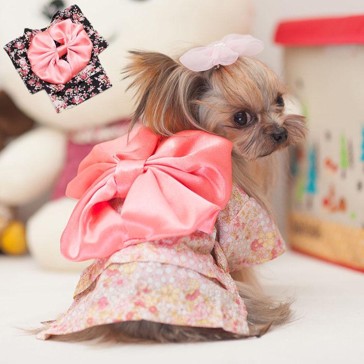 2015 New Free Shipping Fashion Big Bowknot Pets Clothes Dog Dress Spring & Summer Dog Clothes Japanese Kimono Pet Product(China (Mainland))