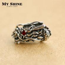 My shine 925 pure silver male stud earring thai silver vintage punk earrings