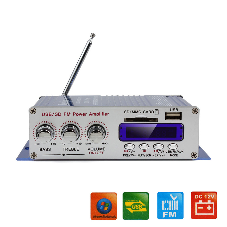 12V Car Digital Display Power Amplifier MP3 Radio Audio Stereo Bass Speaker Player Support USB/SD Card Input with Remote Control(China (Mainland))