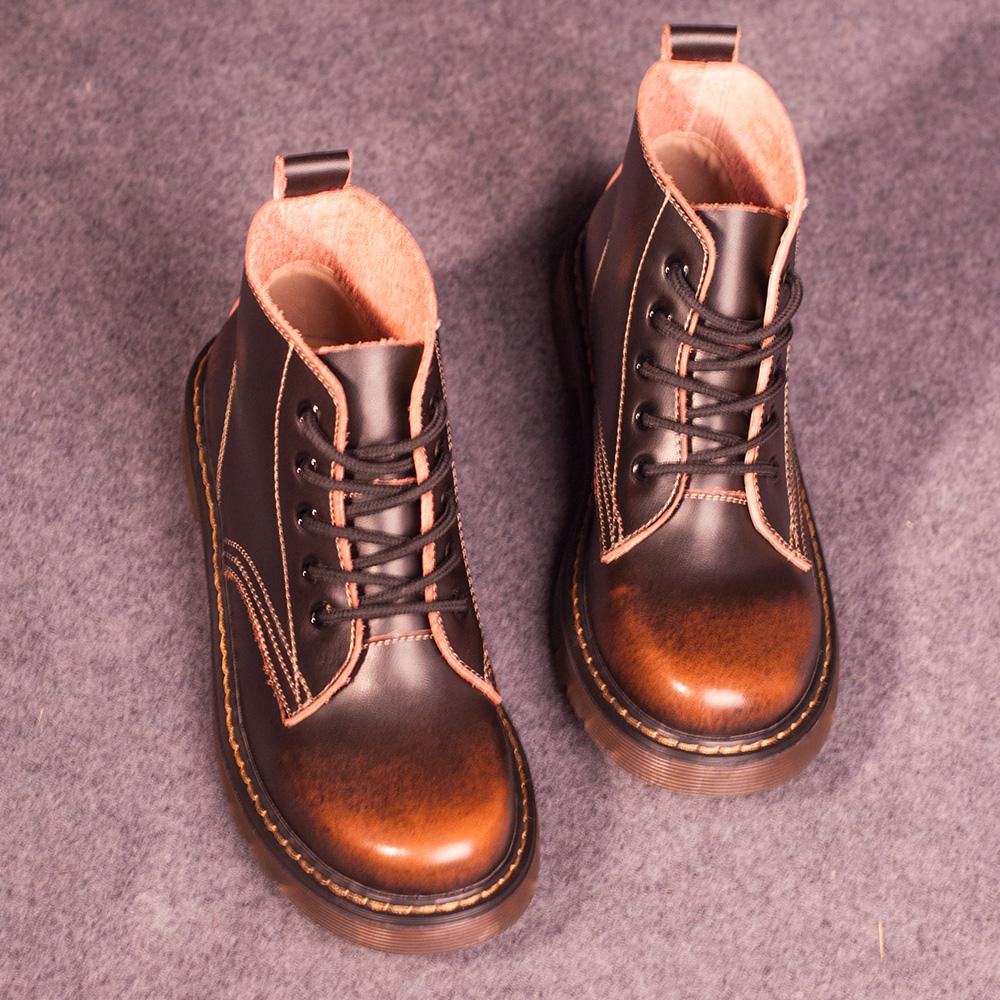 Fashion Women Shoes Boots Genuine Leather round toe flat lacing martin short boots Plus Size 41-44 Shoes WOman ladies shoes #D38