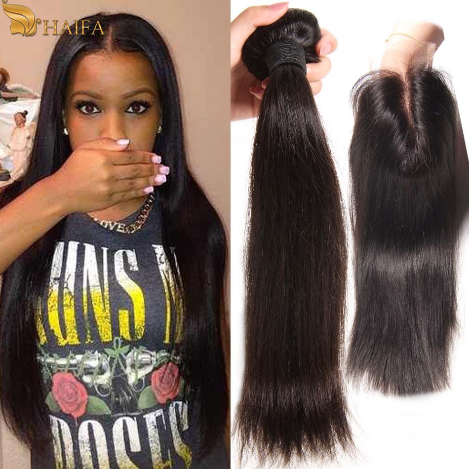Peruvian Straight Hair with Closure Peruvian Virgin Hair With Closure 100 percent Human Hair Bundles 4Pcs weave bundles deals
