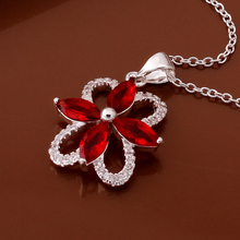 Sterling 925 silver necklace high quality free shipping luxurious western inlaid red stones jewlery fashion crystal