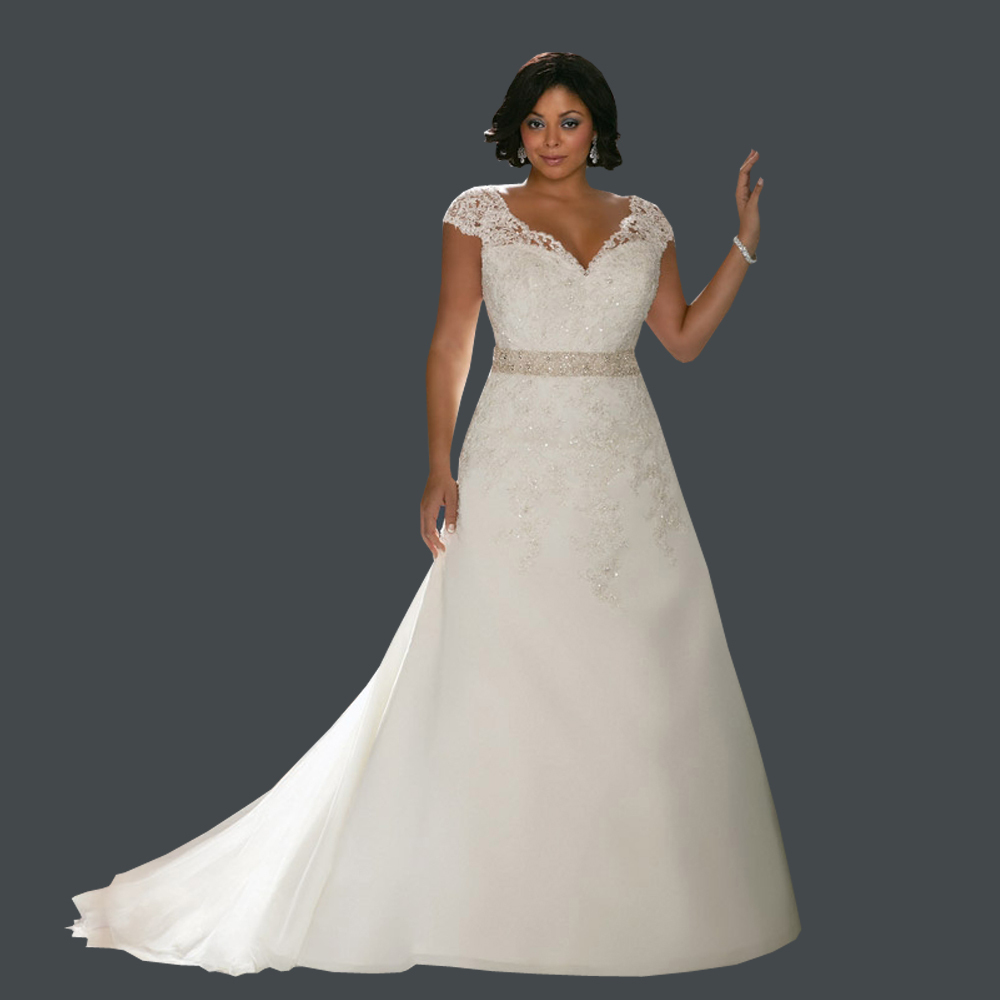 Distinctive design v neck crystals short sleeves plus size for Plus size lace wedding dresses with sleeves