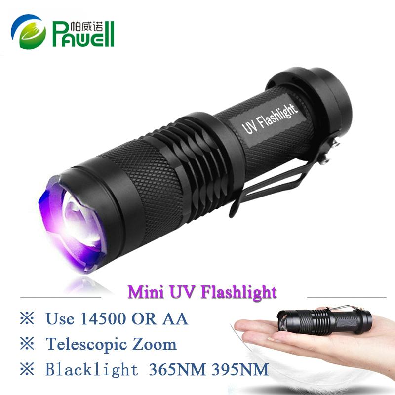 Mini cree led uv flashlight torch 365nm blacklight wavelength 395nm violet light uv black light torcia linterna(China (Mainland))