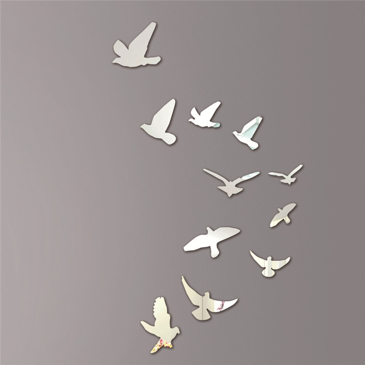 Acrylic Birds Mirror Effect Mural Wall Sticker Removable Modern Room Decoration Free Shipping(China (Mainland))