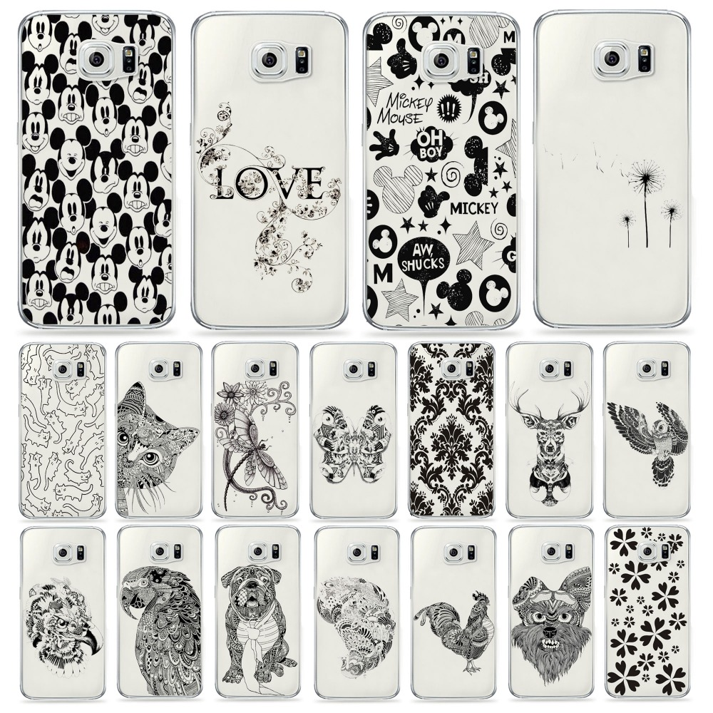 Novel Artistic Stick Figure Animal Drawing Transparent Shell Back Cover Cute Pet Phone Cases Owl For Samsung Galaxy S6 Case Gift(China (Mainland))