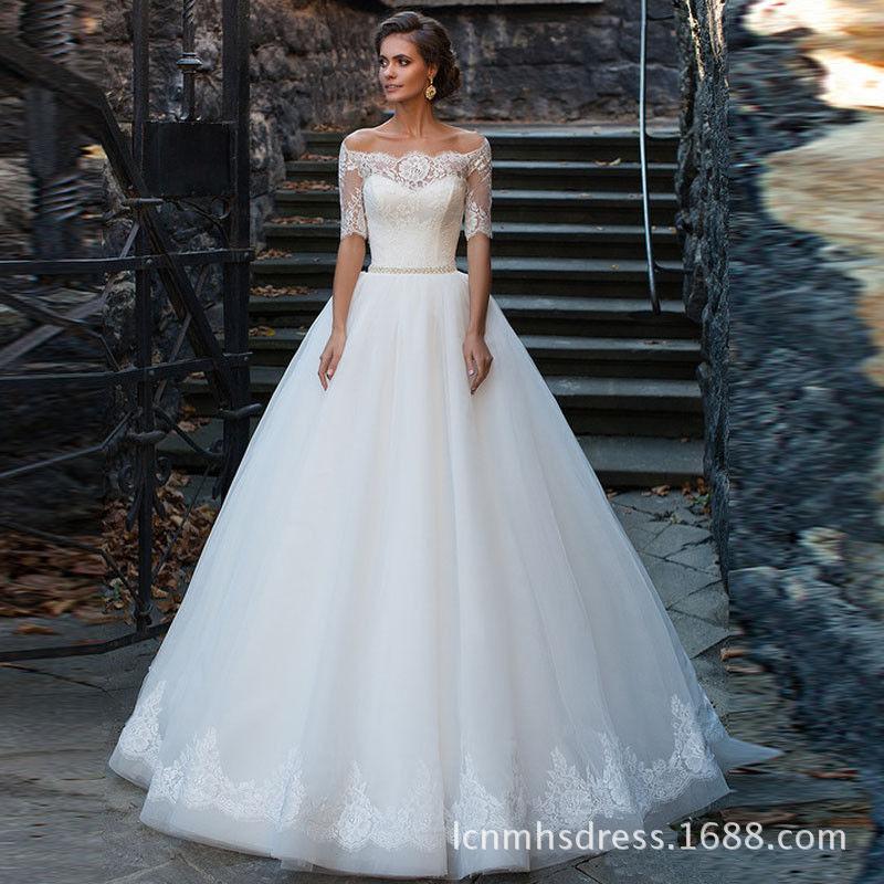 Country Vintage Lace Bridal Wedding Dresses Custom Made Bateau Half ...