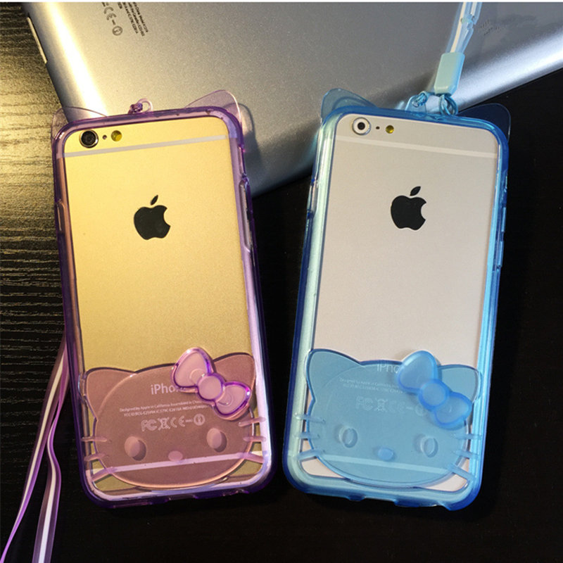 "Fashion Clear Lovely Hello Kitty Cat with String Tpu Frame Case for Iphone 5 5s 6/6s 4.7""plus 5.5"" Discount Simpsons Sale(China (Mainland))"