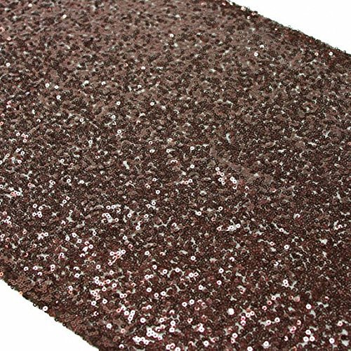 """Chocolate Brown Sequin Table Runner 14"""" x 120""""(China (Mainland))"""