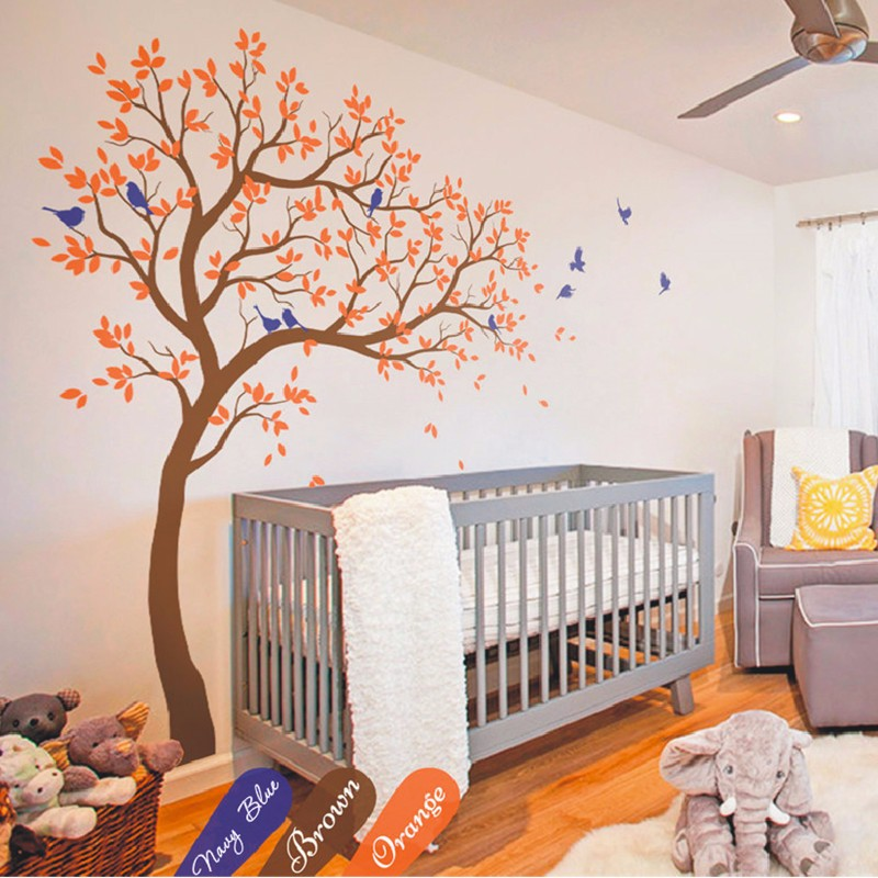 2 1m high huge tree wall decal vinyl sticker baby nursery for Baby nursery tree mural