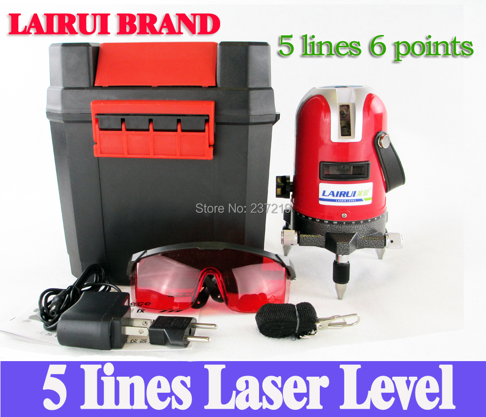 LAIRUI 5 lines 6 points laser level, 360 degree rotary cross laser line level,with outdoor mode and tilt mode free shipping(China (Mainland))